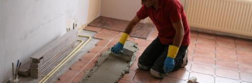 Graniet tegels - Eerste Lijn uitzetten bij het leggen van Graniet Tegels, Wij geven u volledige garantie voor het leggen van graniet tegels.